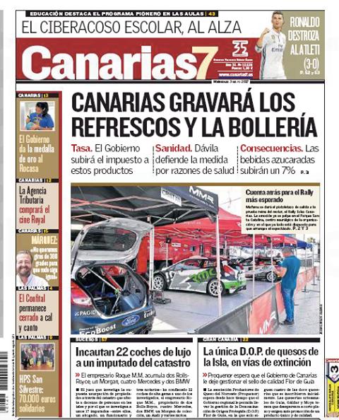 Portada Canarias 7 - 3 mayo 2017 - impuesto refrescos, bollería Concísate Félix Morales