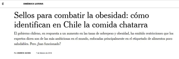Chile políticas alimentación - NYT, febrero 2018