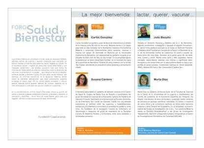 La mejor bienvenida. Lactar, querer, vacunar Tenerife 28 y 29 nov Foro Salud y Bienestar 2018 (1)