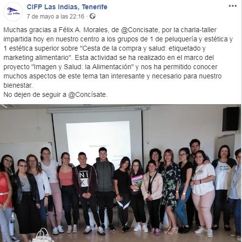 CIFP Las Indias Félix Morales Concísate salud consumo