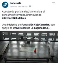 Jóvenes Saludables Concísate Félix Morales CajaCanarias Universidad La Laguna salud ciencia consumo