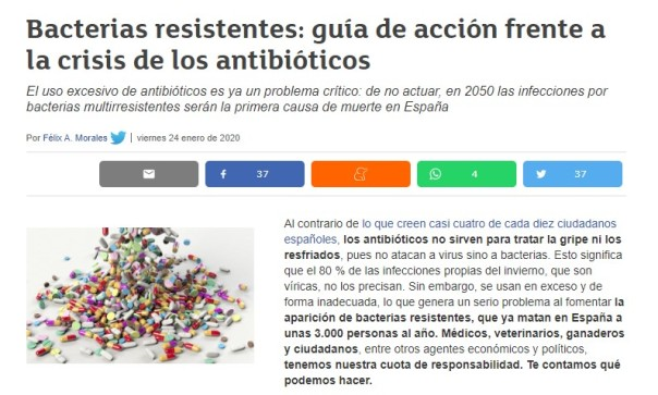 Consumer antibióticos resistencia bacterias Félix A. Morales Concísate